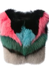 Peter Pilotto Colour Block Fur Scarf - Lyst
