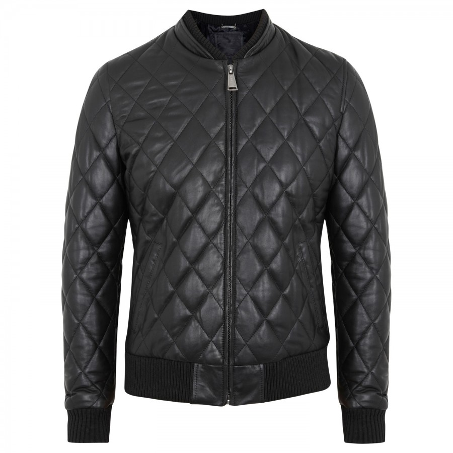 philipp plein provoking quilted leather jacket in black for men lyst. Black Bedroom Furniture Sets. Home Design Ideas