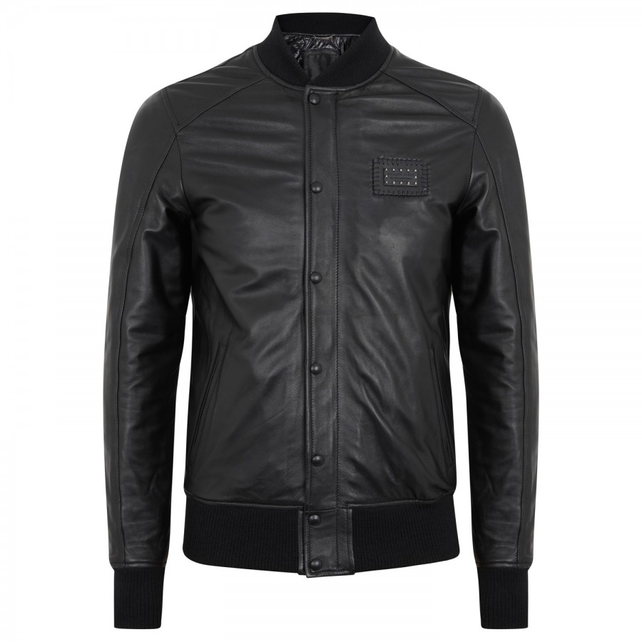 philipp plein skull embossed leather jacket in black for. Black Bedroom Furniture Sets. Home Design Ideas