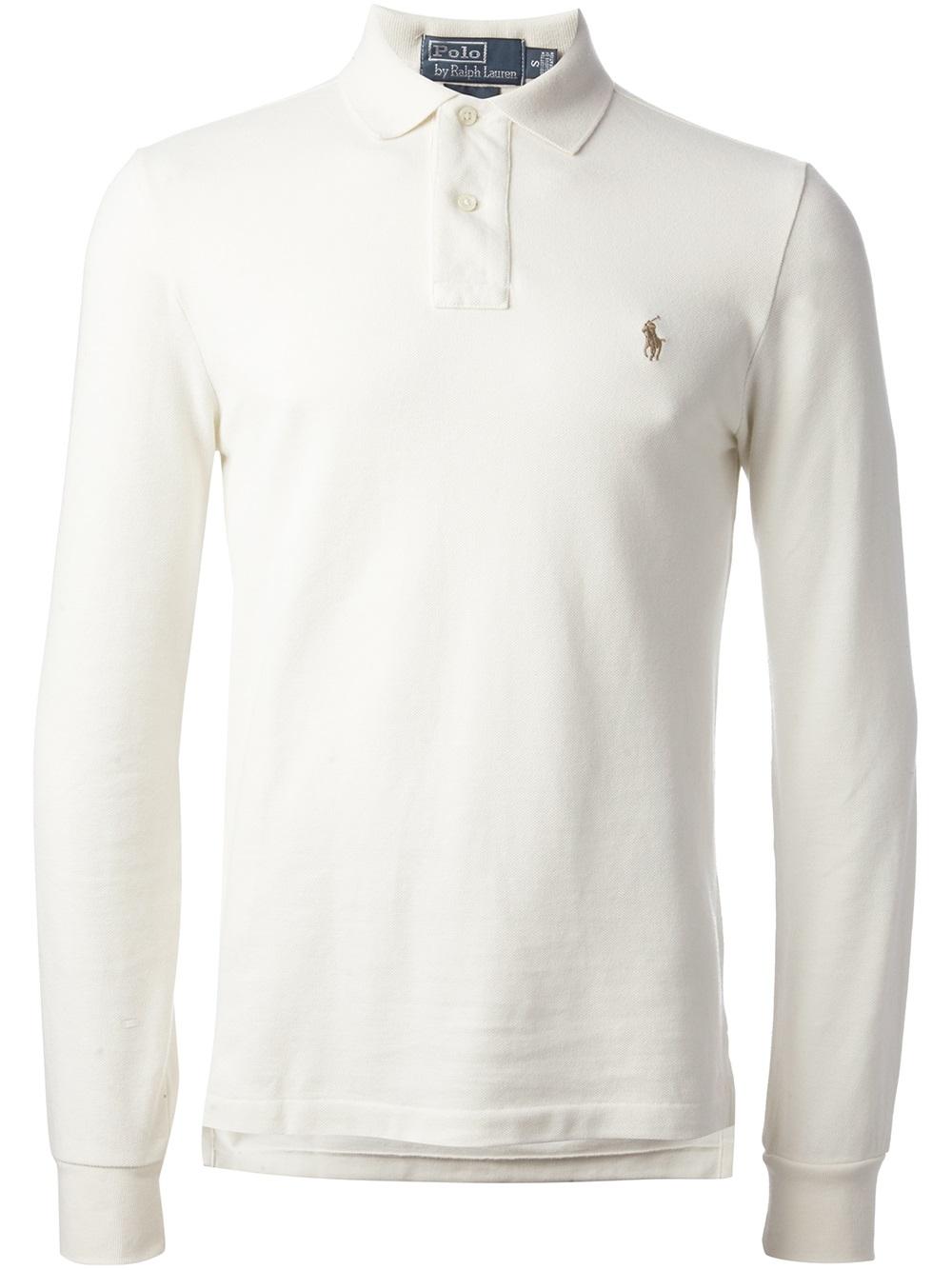 Lyst Polo Ralph Lauren Long Sleeve Polo Shirt In White For Men