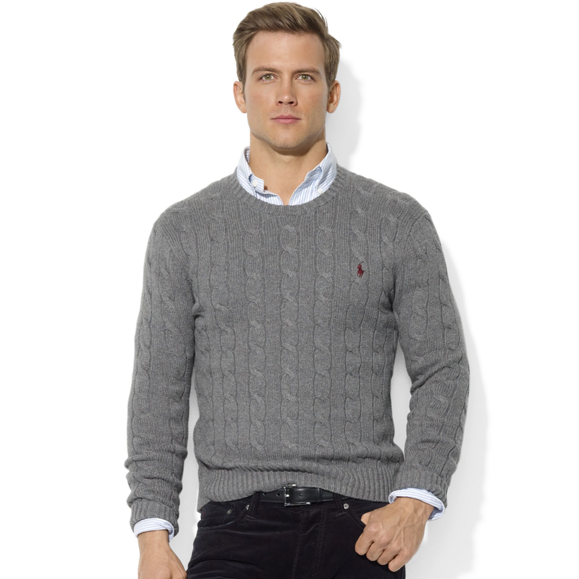 ralph lauren roving crew neck cable cotton sweater in gray. Black Bedroom Furniture Sets. Home Design Ideas