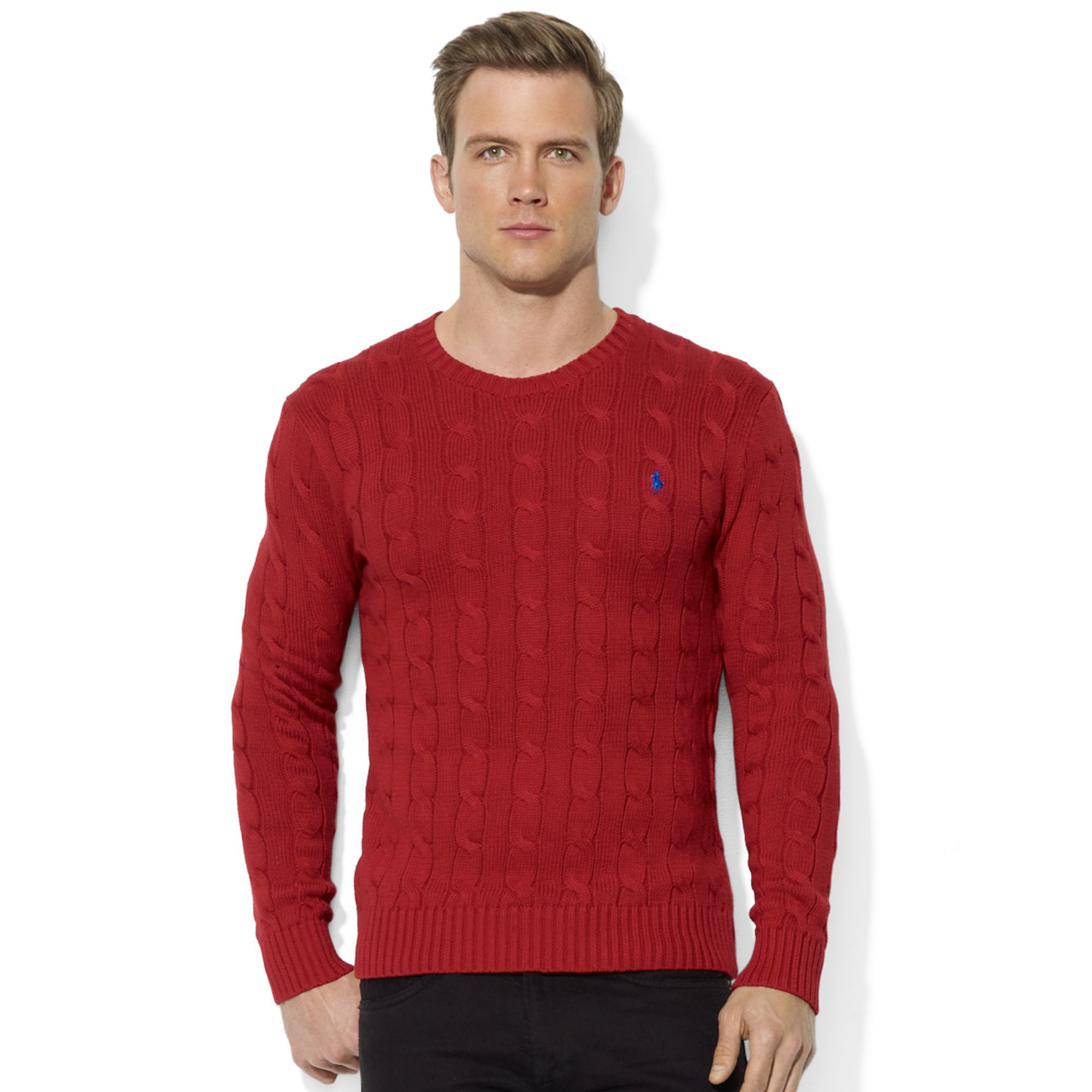 Ralph lauren Roving Crew Neck Cable Cotton Sweater in Red for Men ...