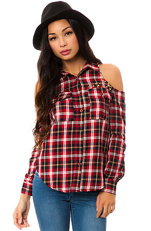 f58dd630a19a4c Lyst - Reverse The Plaid Cold Shoulder Shirt in Black