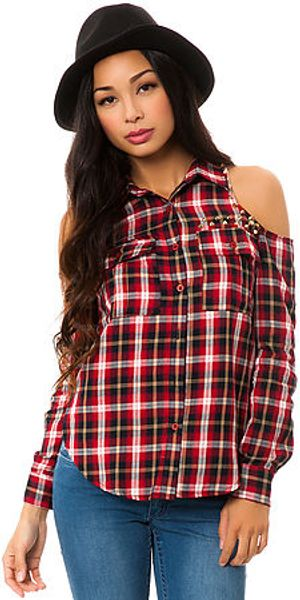 Reverse The Plaid Cold Shoulder Shirt - Lyst