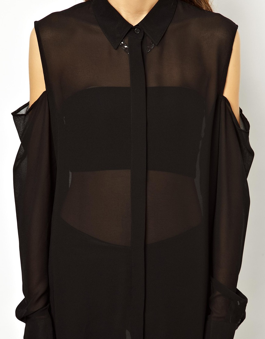 43c762391c1273 Lyst - Cheap Monday Cold Shoulder Shirt in Black