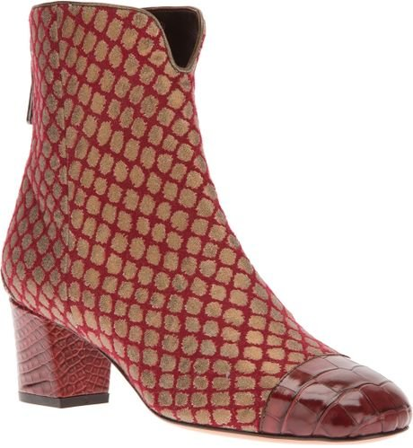 Santoni fish scale pattern boot in red lyst for Fish scale boots