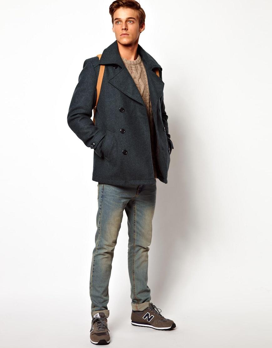 Asos Selected Wool Pea Coat in Green for Men   Lyst