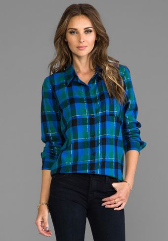 Splendid Juniper Flannel Button Down in Blue - Lyst