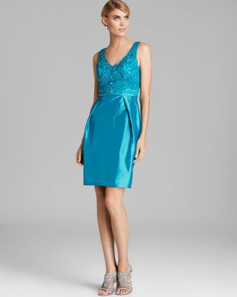 Sue Wong Beaded V Neck Top and Taffeta Skirt Dress - Lyst