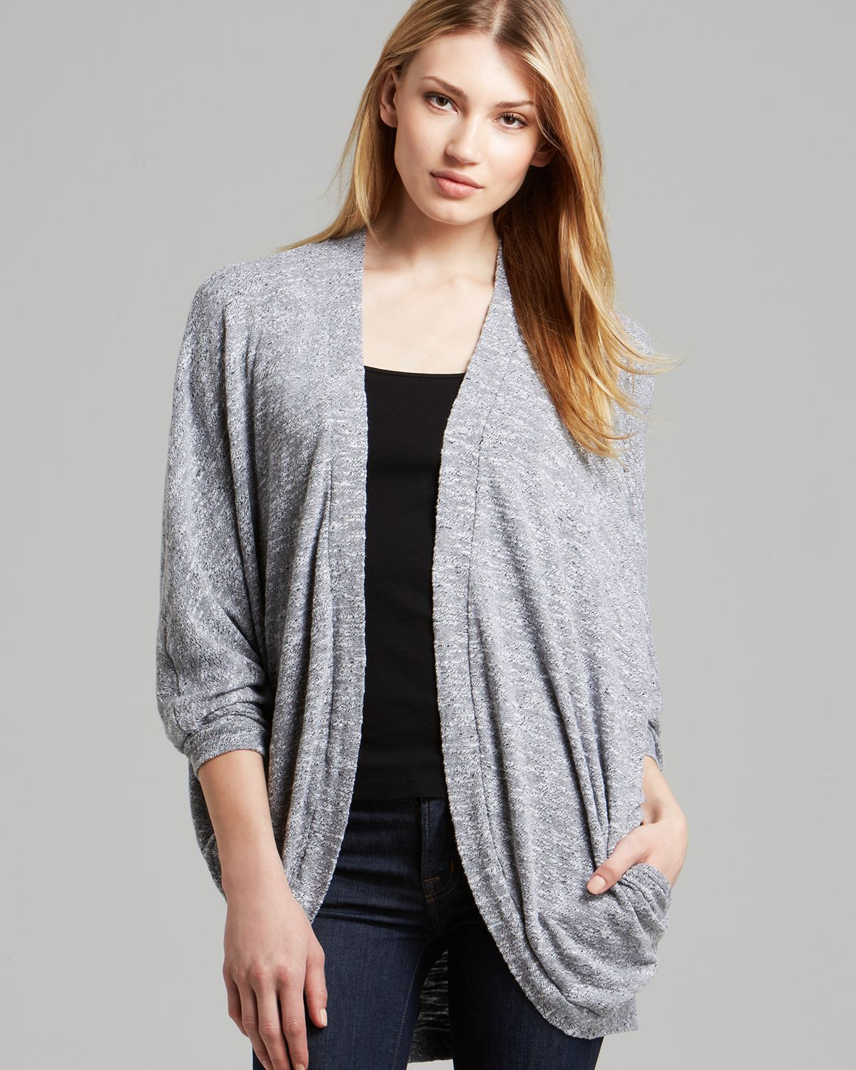 Three dots Cocoon Cardigan with Pockets in Gray | Lyst