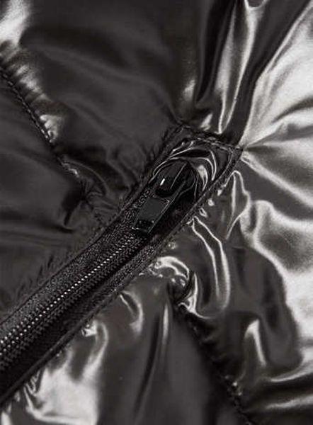 Topman Black Metallic Hooded Quilted Bomber Jacket In