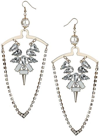Topshop Rhinestone Pearl Drape Earrings - Lyst