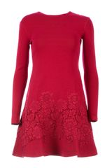 Valentino Lace Detail Sweater Dress - Lyst
