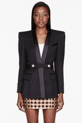 Balmain Black Pointed Shoulder Long Blazer - Lyst
