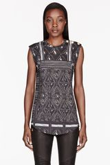 Balmain Grey Printed Tank Top - Lyst