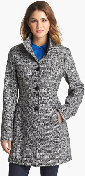 Calvin Klein Stand Collar Tweed Walking Coat With Scarf In