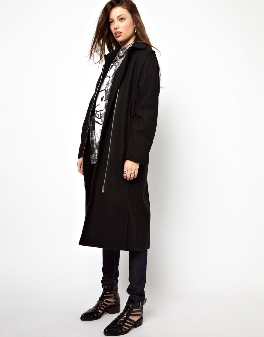 Asos Cheap Monday Collar Coat in Black | Lyst