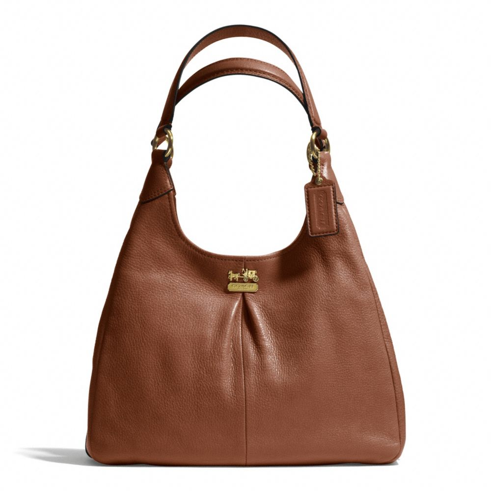 lyst coach madison maggie shoulder bag in leather in brown
