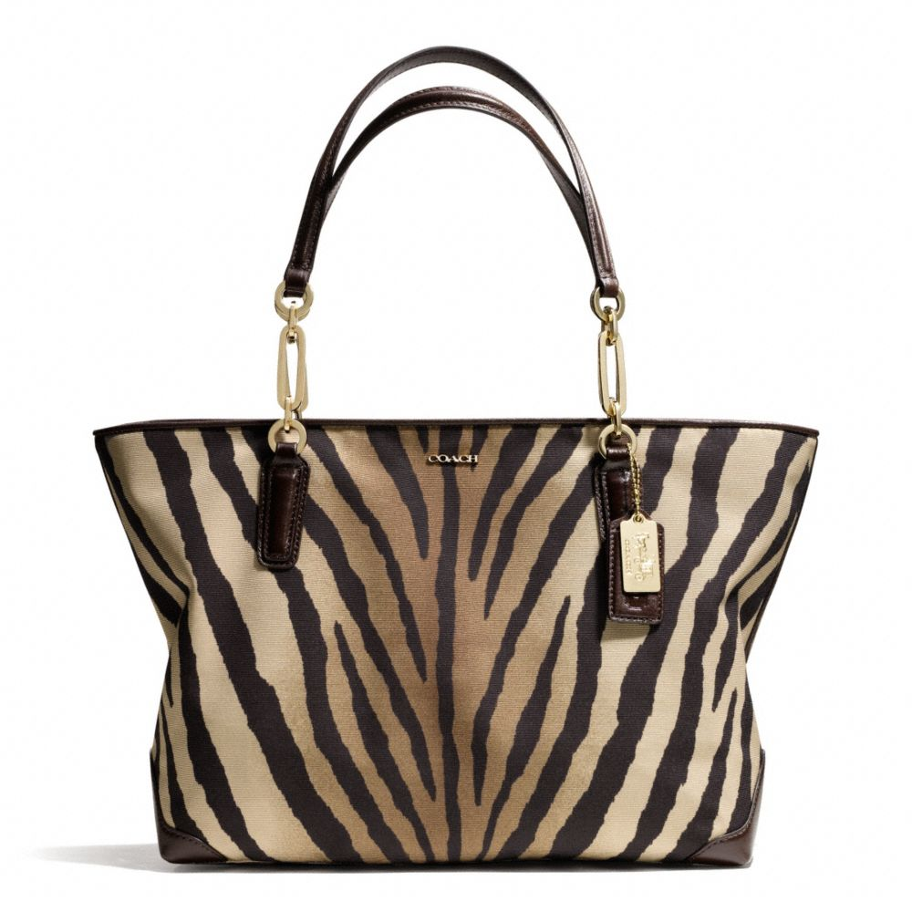 Eastwest tote in zebra print fabric in animal light gold brown multi