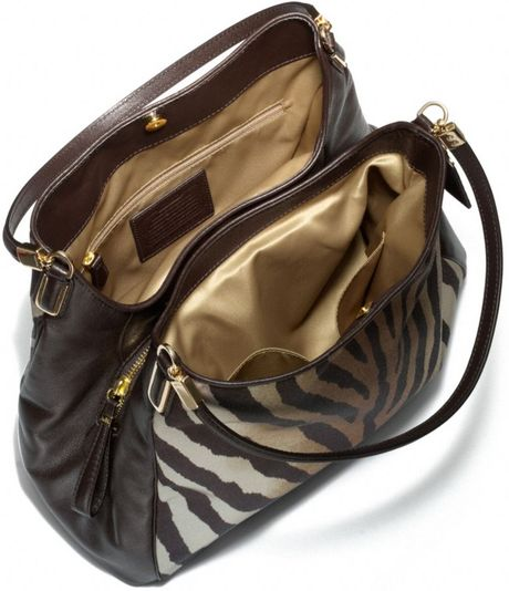 Coach Madison Small Phoebe Shoulder Bag In Zebra Print Fabric 15