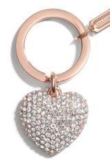 Coach Pave Rose Gold Heart Key Ring - Lyst