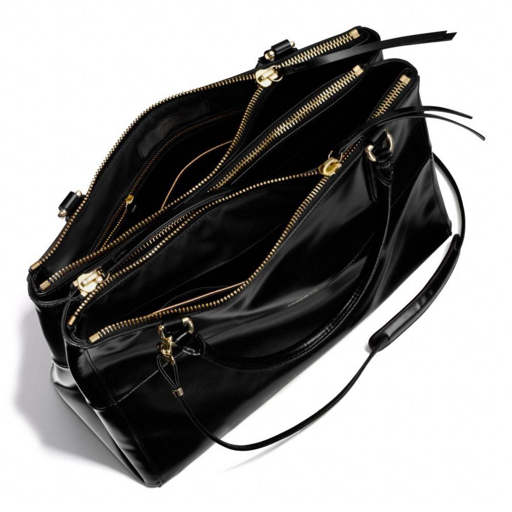 lyst coach the borough bag in polished calfskin in black rh lyst com