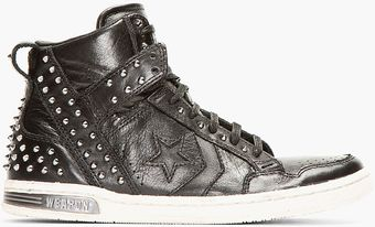 Converse Black Studded Leather Weapon High_top Sneakers - Lyst