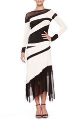 Donna Karan New York Bicolor Banded Meshpanel Top - Lyst