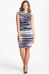 Ivanka Trump Print Jersey Sheath Dress - Lyst