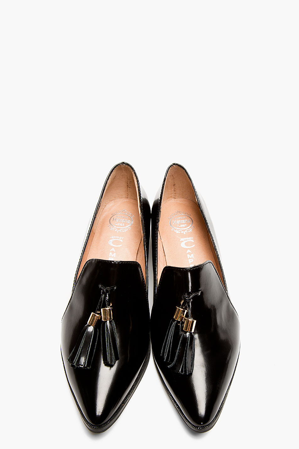 Lyst - Jeffrey Campbell Black Buffed Leather Pointed Blane Loafers ...