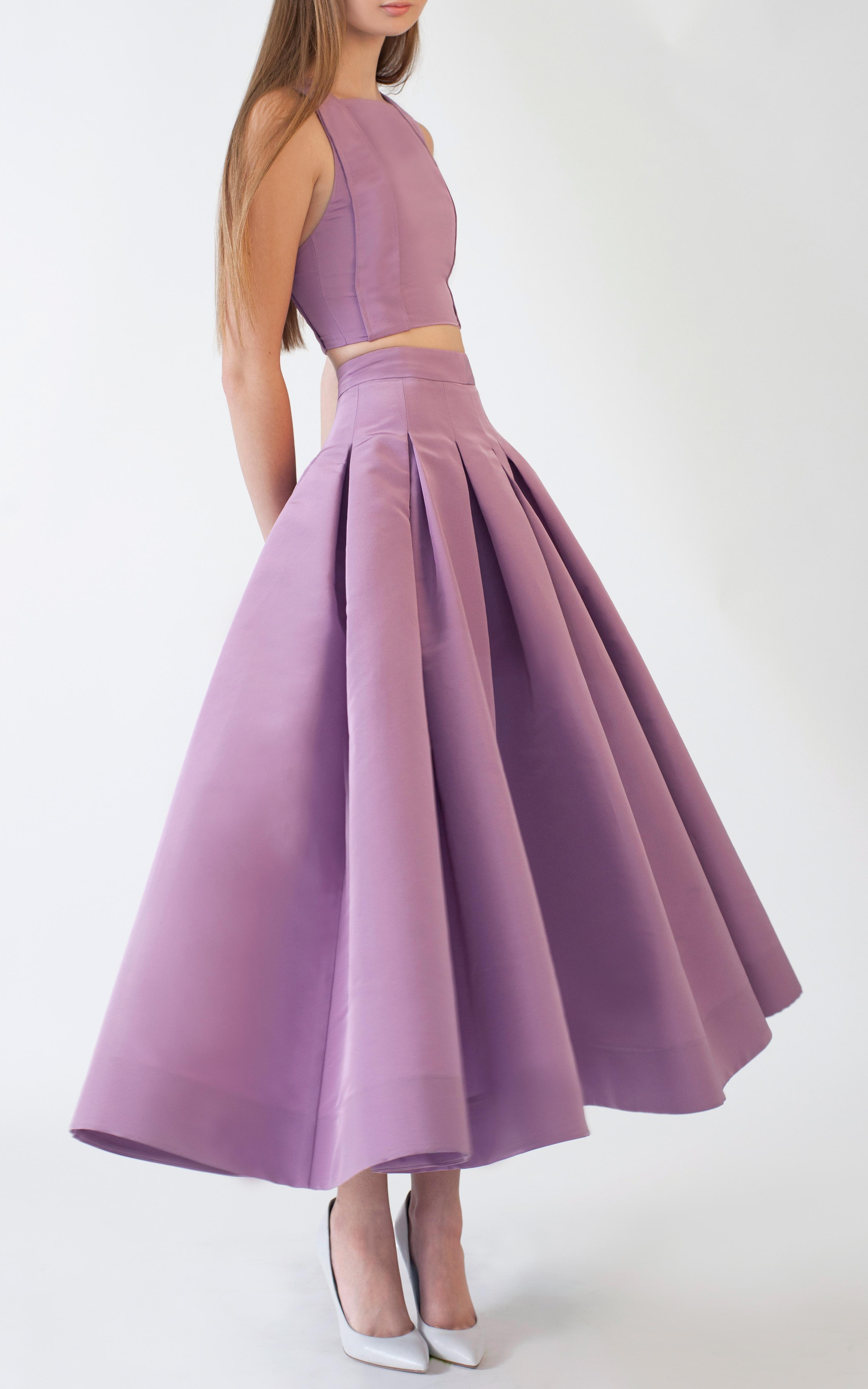 Katie ermilio Box Pleat Swing Skirt in Purple | Lyst Lilac High Heels