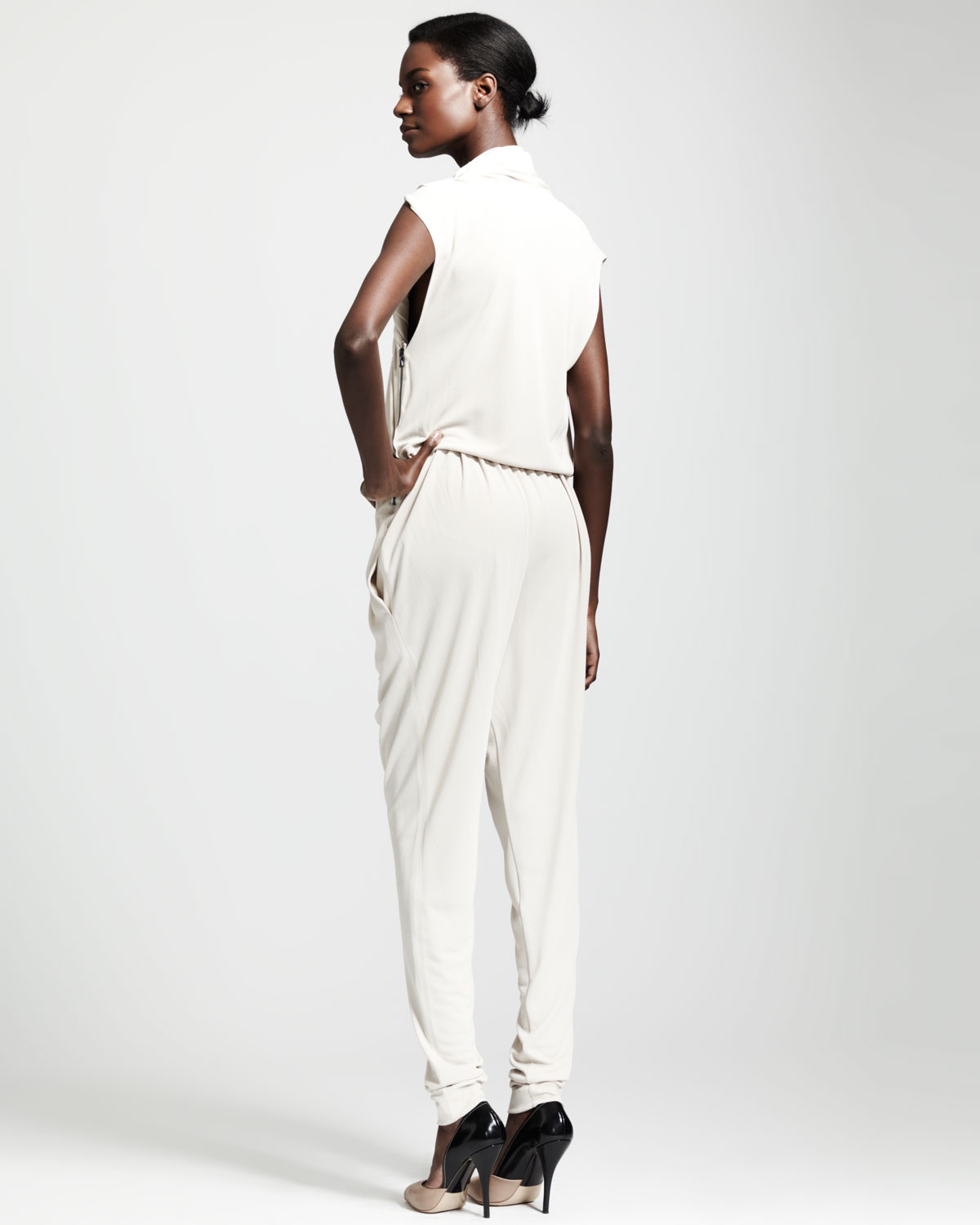 fcbe92b954ea Lyst - Lanvin Draped Jumpsuit in White