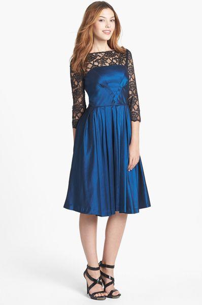 Maggy London Lace Yoke Taffeta Fit Flare Dress In Black