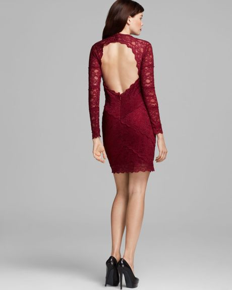 Red Open Back Cocktail Dress Open Back Lace Dress in
