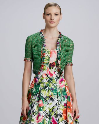 Oscar de la Renta Cropped Crochet Cardigan Kelly Green - Lyst
