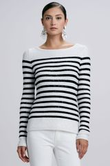 Oscar de la Renta Striped Sequined Longsleeve Sweater - Lyst