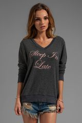 Wildfox Couture Sleep in Late Baggy Beach Vneck in Charcoal - Lyst