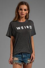 Wildfox Couture Weird Over Sized Tee in Charcoal - Lyst