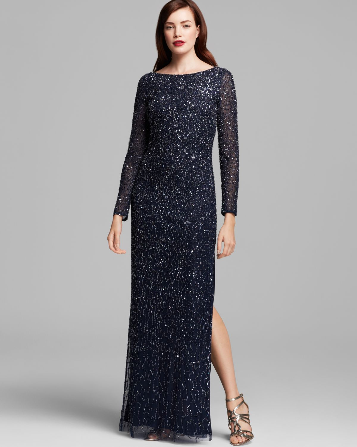 Aidan mattox Sequin Gown in Blue | Lyst