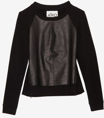 Aiko Exclusive Front Leather Panel Sweatshirt - Lyst