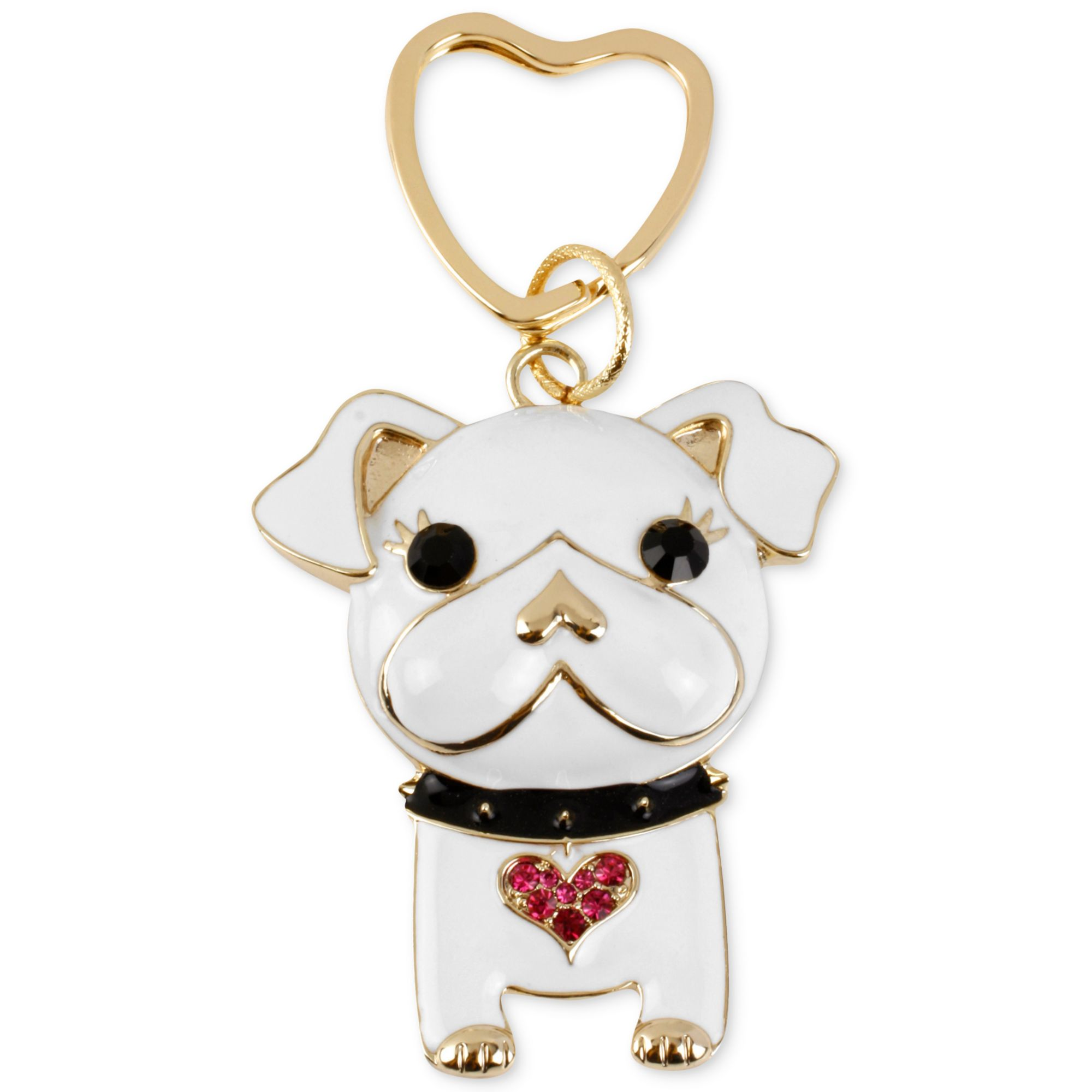 Betsey Johnson Goldtone Crystal Heart Dog Key Chain In
