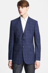 Burberry Navy Plaid Wool Blazer - Lyst