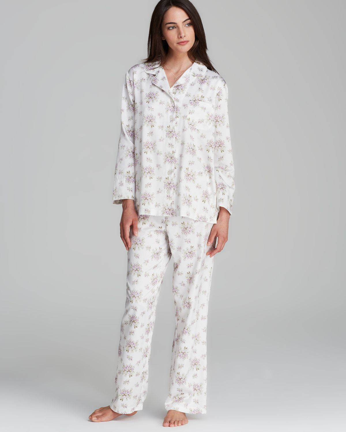 Lyst - Carole Hochman Brushed Back Satin Pajamas in Gray d0cd679cd