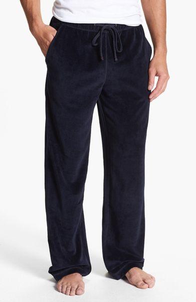 Daniel Buchler Velour Lounge Pants In Blue For Men Navy