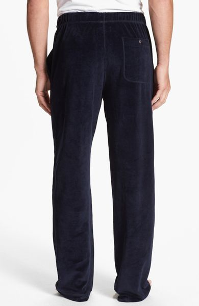 Daniel Buchler Velour Lounge Pants In Blue For Men Navy