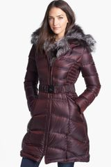Dawn Levy Genuine Fox Fur Trim Belted Down Coat - Lyst