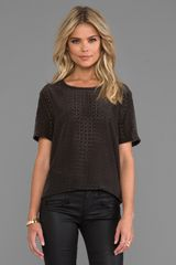 Equipment Riley Laser Cut Blouse in Black - Lyst