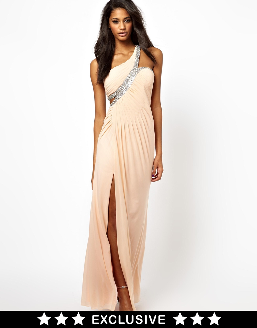 Forever unique one shoulder maxi dress with embellished for Unique one