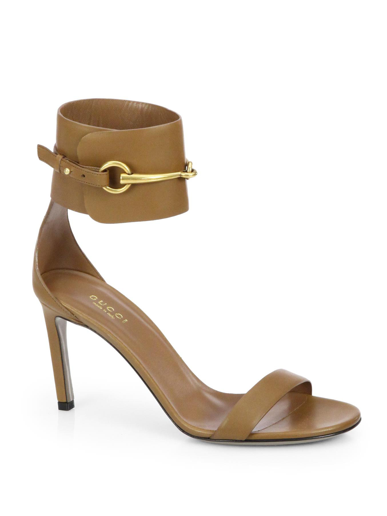 a4bb9b23cd37b Lyst - Gucci Ursula Leather Horsebit Sandals in Brown