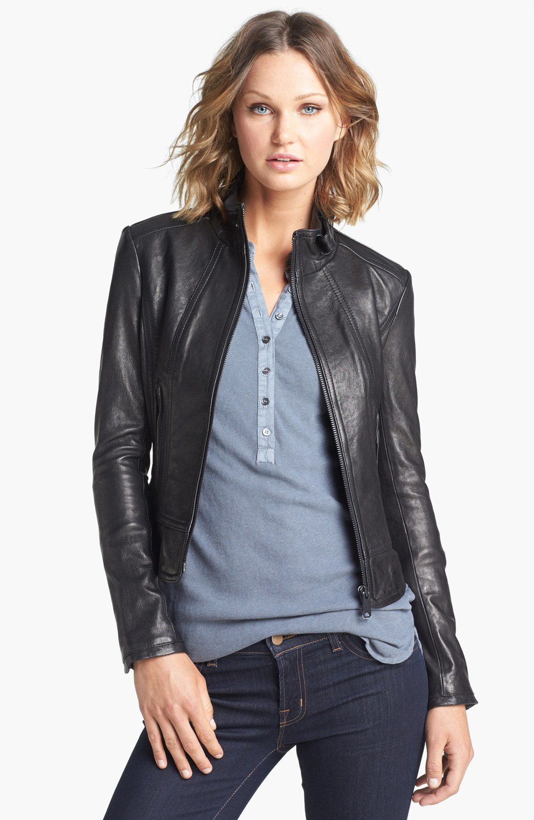 Lyst june tab collar leather jacket in black for Snap tab collar shirt